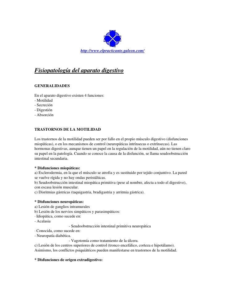 http://www.elpracticante.galeon.com/    Fisiopatología del aparato digestivo  GENERALIDADES  En el aparato digestivo exist...