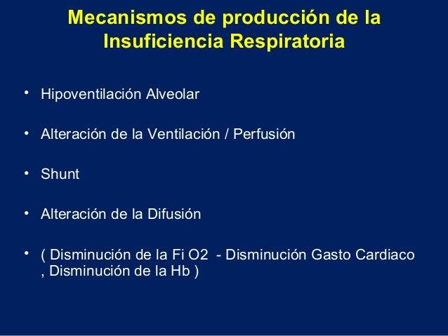 Mecanismos de producción de laInsuficiencia Respiratoria• Hipoventilación Alveolar• Alteración de la Ventilación / Perfusi...