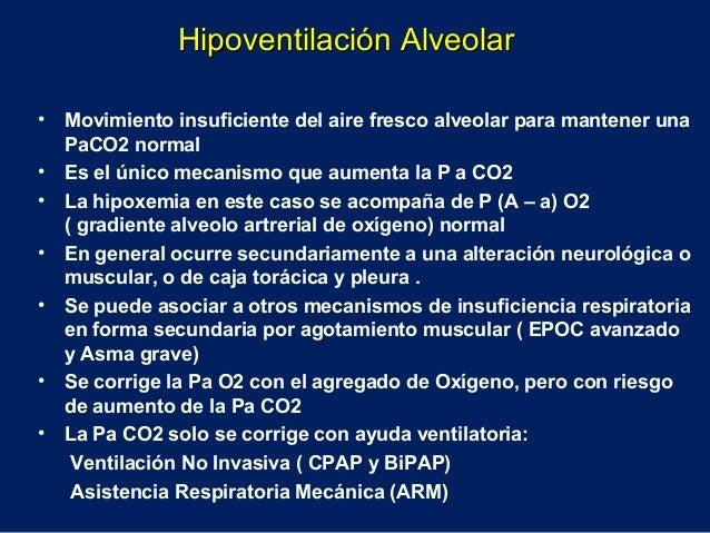 • Movimiento insuficiente del aire fresco alveolar para mantener unaPaCO2 normal• Es el único mecanismo que aumenta la P a...