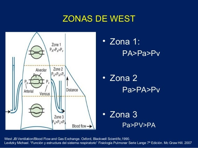 ZONAS DE WEST• Zona 1:PA>Pa>Pv• Zona 2Pa>PA>Pv• Zona 3Pa>PV>PAWest JB:Ventilation/Blood Flow and Gas Exchange. Oxford, Bla...