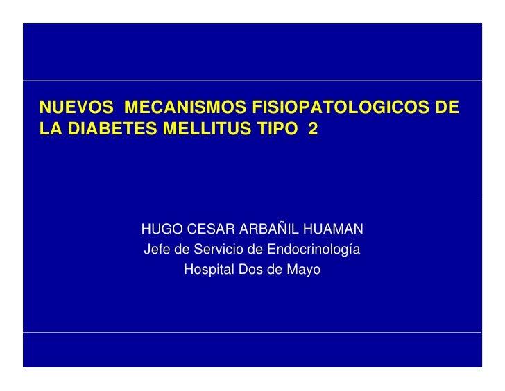 NUEVOS MECANISMOS FISIOPATOLOGICOS DE LA DIABETES MELLITUS TIPO 2             HUGO CESAR ARBAÑIL HUAMAN         Jefe de Se...