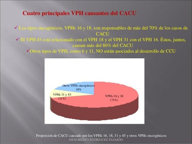 VPHs 16 y 18 (71%) VPHs 31 y 45 (11%) Otros VPHs oncogénicos 18% Cuatro principales VPH causantes del CACU  Los tipos onc...