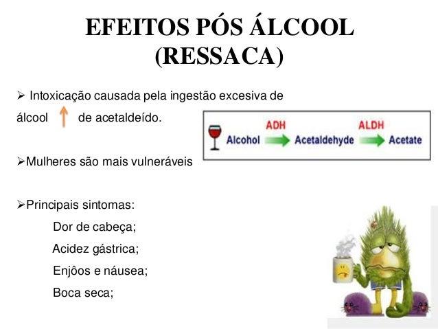 EFEITOS PÓS ÁLCOOL                    (RESSACA) Intoxicação causada pela ingestão excesiva deálcool       de acetaldeído....