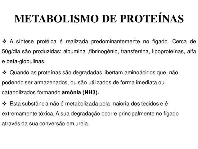 METABOLISMO DE PROTEÍNAS A síntese protéica é realizada predominantemente no fígado. Cerca de50g/dia são produzidas: albu...