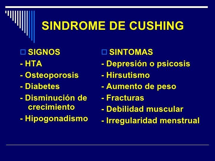 SINDROME DE CUSHING <ul><li>SIGNOS </li></ul><ul><li>- HTA </li></ul><ul><li>- Osteoporosis </li></ul><ul><li>- Diabetes <...