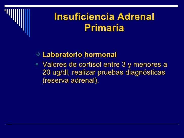 Insuficiencia Adrenal Primaria <ul><li>Laboratorio hormonal </li></ul><ul><li>Valores de cortisol entre 3 y menores a 20 u...