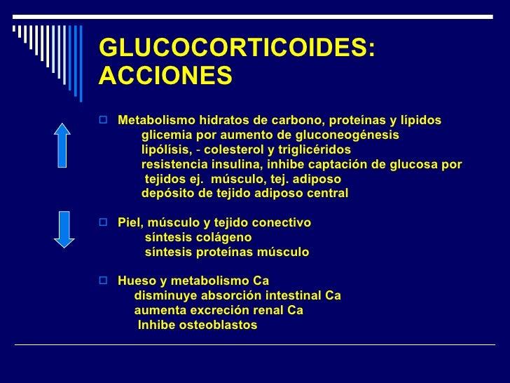 GLUCOCORTICOIDES: ACCIONES <ul><li>Metabolismo hidratos de carbono, proteínas y lípidos </li></ul><ul><li>glicemia por aum...