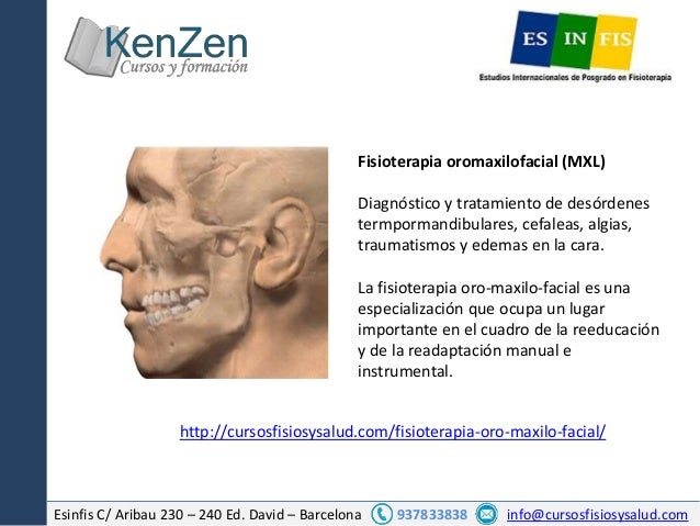 Esinfis C/ Aribau 230 – 240 Ed. David – Barcelona 937833838 info@cursosfisiosysalud.com Fisioterapia oromaxilofacial (MXL)...