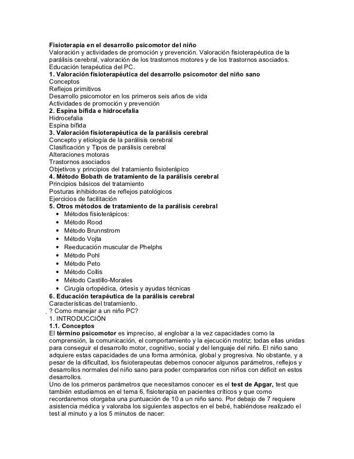 Fisioterapia en el desarrollo psicomotor del niñoValoración y actividades de promoción y prevención. Valoración fisioterap...