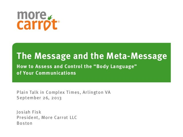 """The Message and the Meta-Message How to Assess and Control the """"Body Language"""" of Your Communications Plain Talk in Comple..."""