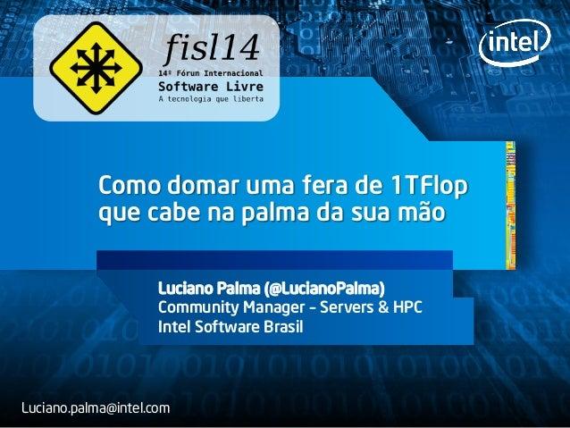 Como domar uma fera de 1TFlop que cabe na palma da sua mão Luciano Palma (@LucianoPalma) Community Manager – Servers & HPC...