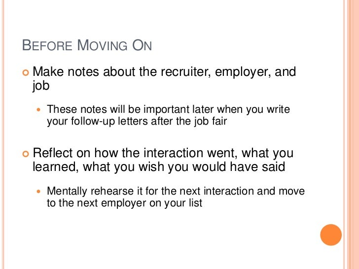 Follow Up Letter After A Job Fair Cover Letter
