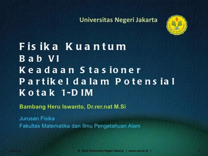 Fisika Kuantum Bab  VI Keadaan Stasioner Partikel dalam Potensial Kotak 1-DIM Bambang Heru Iswanto, Dr.rer.nat M.Si <ul><l...