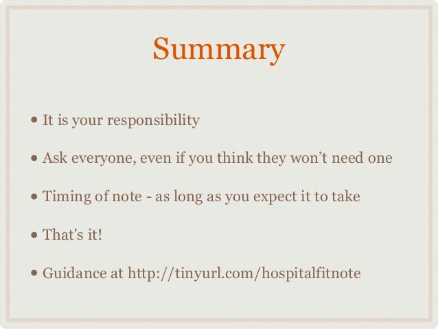 Fit Notes For Hospital Doctors