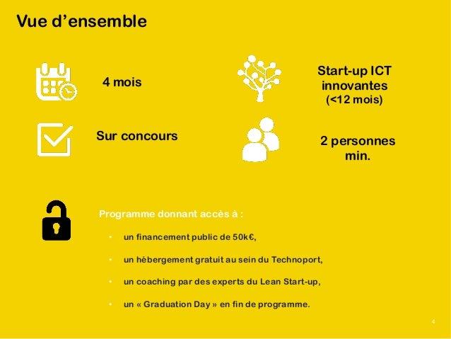 © 2015 Luxinnovation 3 Vue d'ensemble 4 mois Sur concours Start-up ICT innovantes (<12 mois) 2 personnes min. Programme do...