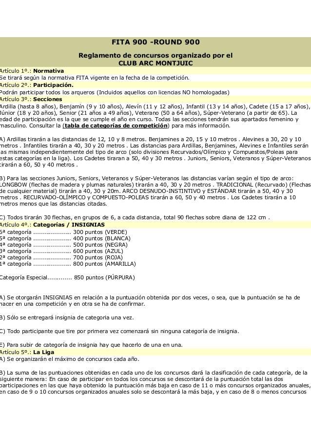 FITA 900 -ROUND 900 Reglamento de concursos organizado por el CLUB ARC MONTJUIC Artículo 1º.: Normativa Se tirará según la...