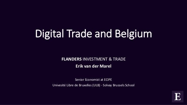 Digital Trade and Belgium FLANDERS INVESTMENT & TRADE Erik van der Marel Senior Economist at ECIPE Univesité Libre de Brux...