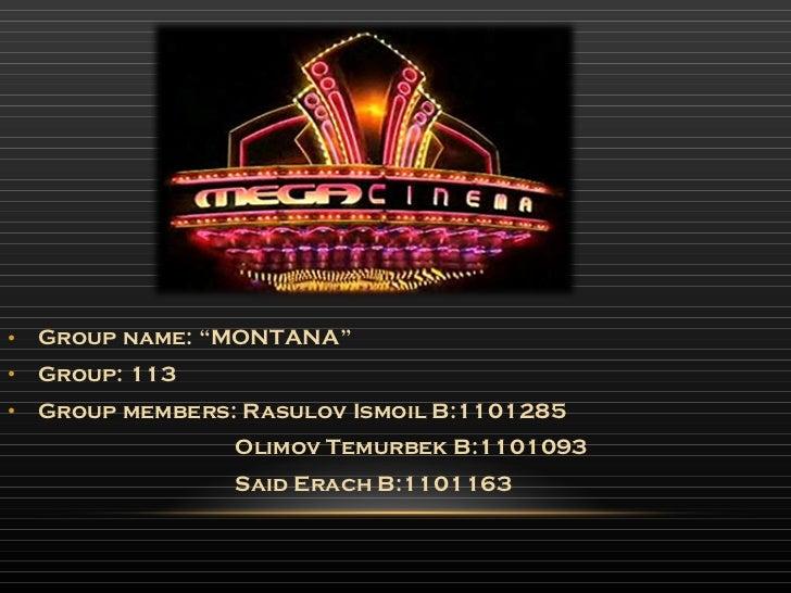 "<ul><li>Group name: ""MONTANA"" </li></ul><ul><li>Group: 113 </li></ul><ul><li>Group members: Rasulov Ismoil B:1101285 </li>..."