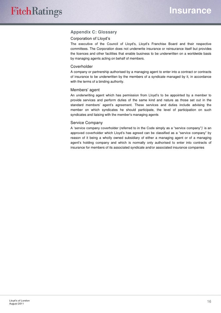 Fitch Lloyds Report August 2011
