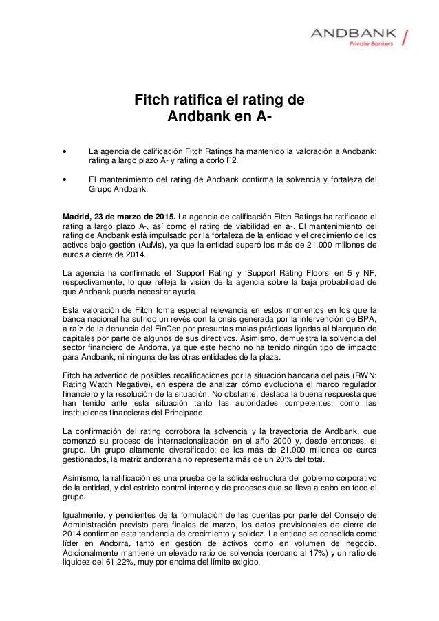 Fitch ratifica el rating de Andbank en A- • La agencia de calificación Fitch Ratings ha mantenido la valoración a Andbank:...