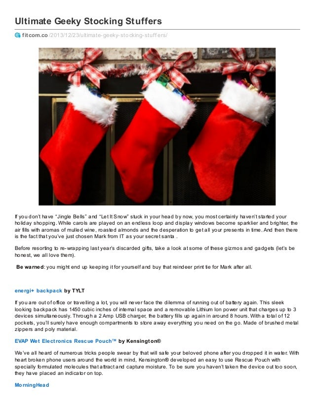 "Ultimate Geeky Stocking Stuffers fitcom.co /2013/12/23/ultimate-geeky-stocking-stuf f ers/  If you don't have ""Jingle Bell..."