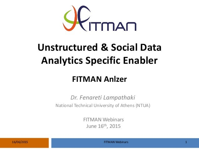 FITMAN Webinars 116/06/2015 Unstructured & Social Data Analytics Specific Enabler FITMAN Anlzer FITMAN Webinars June 16th,...