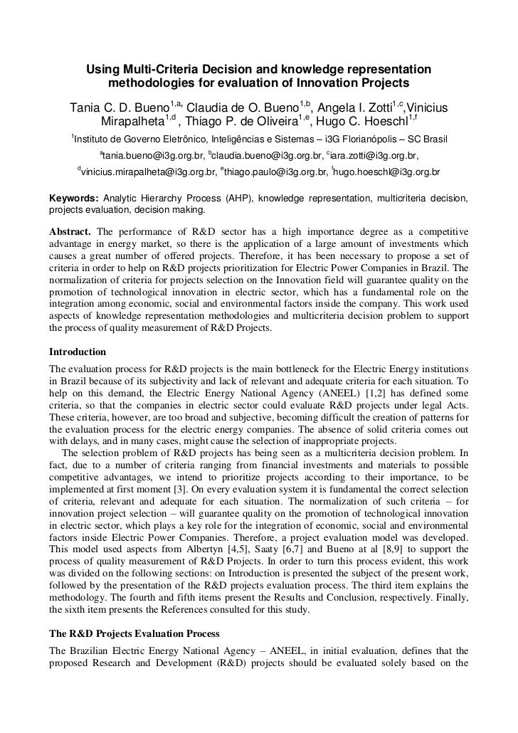 Using Multi-Criteria Decision and knowledge representation                methodologies for evaluation of Innovation Proje...