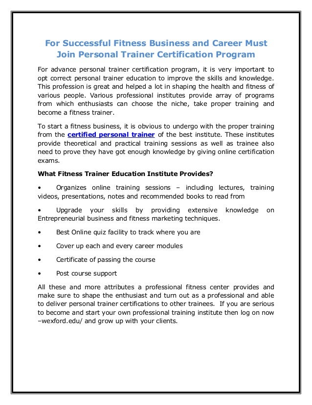 Fitness business and career must join personal trainer certification …