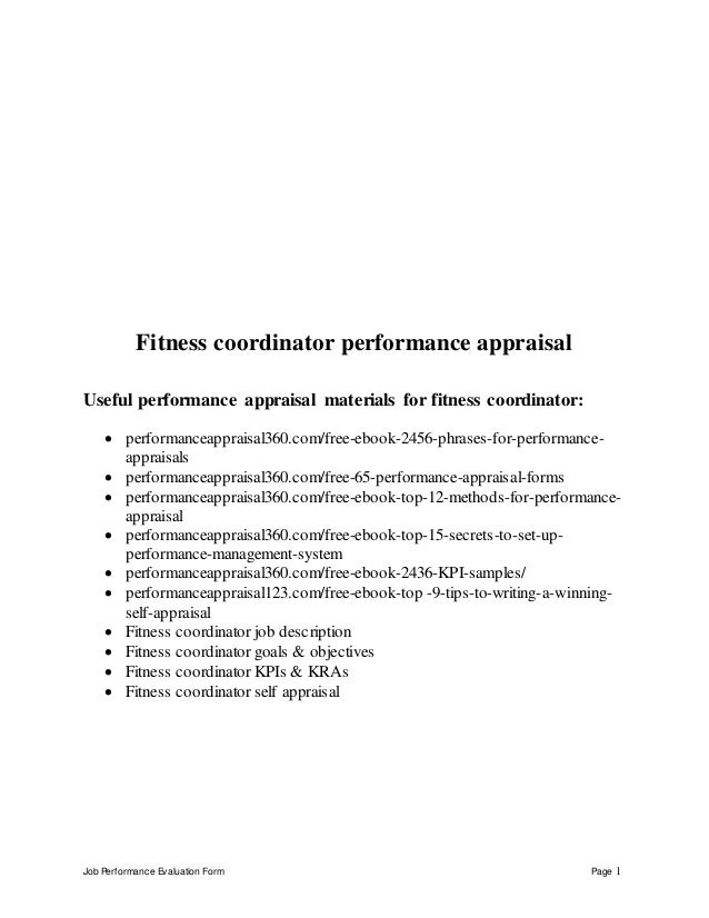 Job Performance Evaluation Form Page 1 Fitness Coordinator Performance  Appraisal Useful Performance Appraisal Materials Fo.