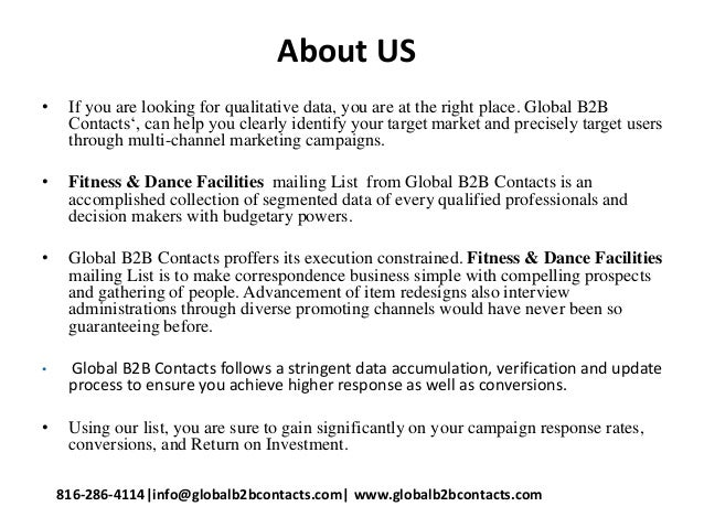 About US • If you are looking for qualitative data, you are at the right place. Global B2B Contacts', can help you clearly...