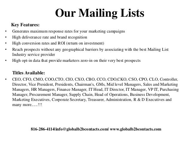 Our Mailing Lists Key Features: • Generates maximum response rates for your marketing campaigns • High deliverance rate an...