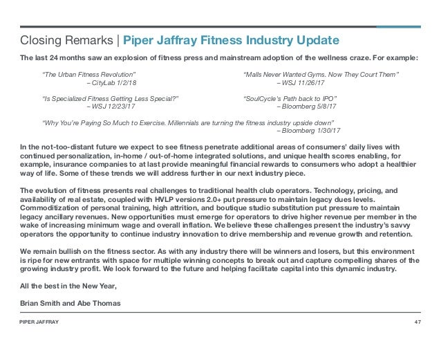 Piper Jaffray 2018 US Fitness Industry Update