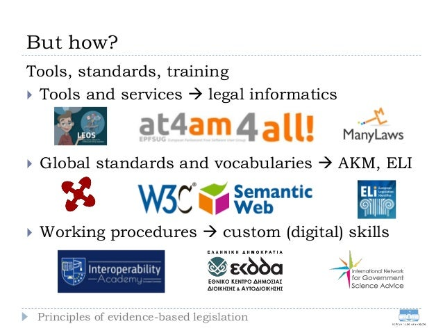 But how? Tools, standards, training  Tools and services  legal informatics  Global standards and vocabularies  AKM, EL...