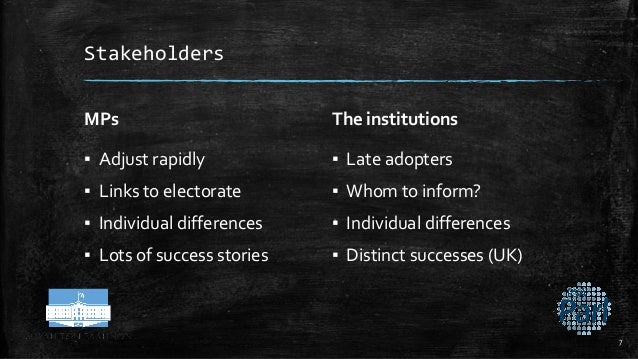 Stakeholders MPs ▪ Adjust rapidly ▪ Links to electorate ▪ Individual differences ▪ Lots of success stories The institution...