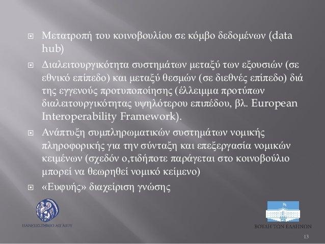  Μετατροπή του κοινοβουλίου σε κόμβο δεδομένων (data hub)  Διαλειτουργικότητα συστημάτων μεταξύ των εξουσιών (σε εθνικό ...