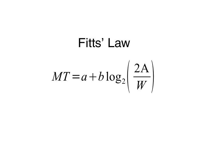 fitts law The time to acquire a target is a function of the distance to and size of the target.