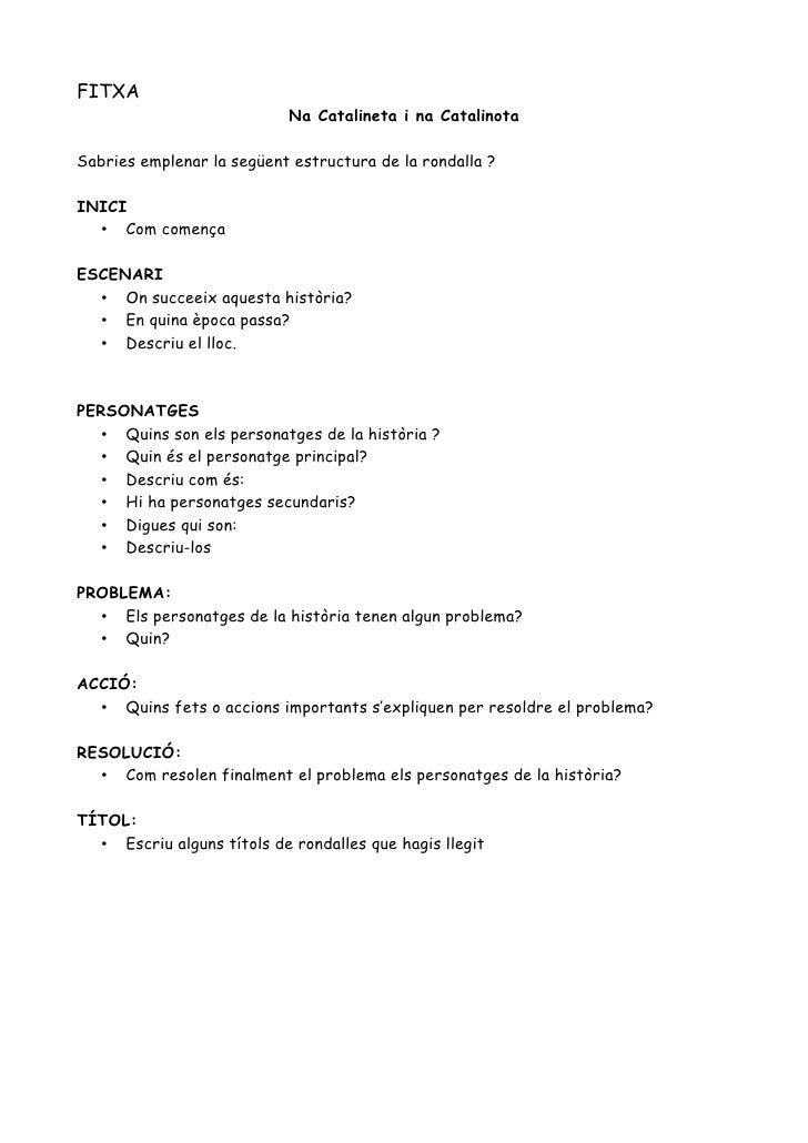 FITXA                            Na Catalineta i na CatalinotaSabries emplenar la següent estructura de la rondalla ?INICI...
