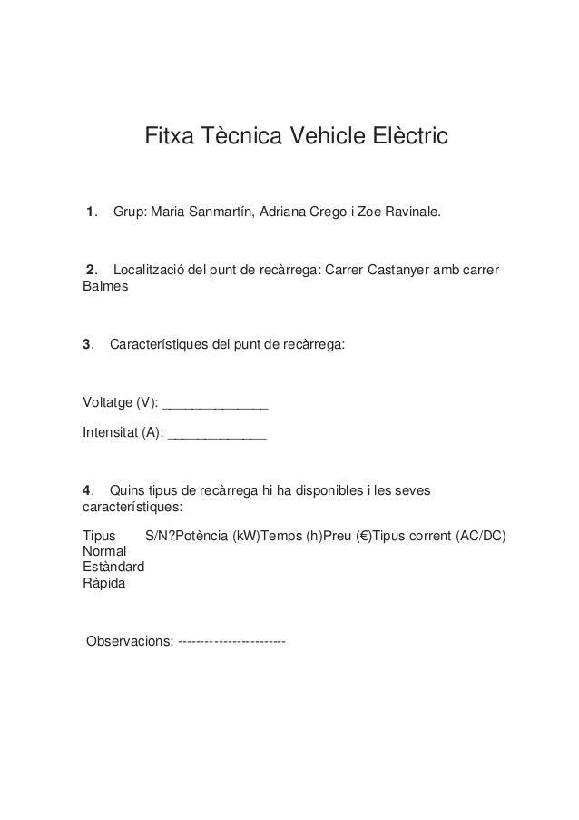 Fitxa Tècnica Vehicle Elèctric1. Grup: Maria Sanmartín, Adriana Crego i Zoe Ravinale.2. Localització del punt de recàrrega...