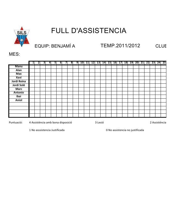 FULL DASSISTENCIA                      EQUIP: BENJAMÍ A                                TEMP.2011/2012                     ...
