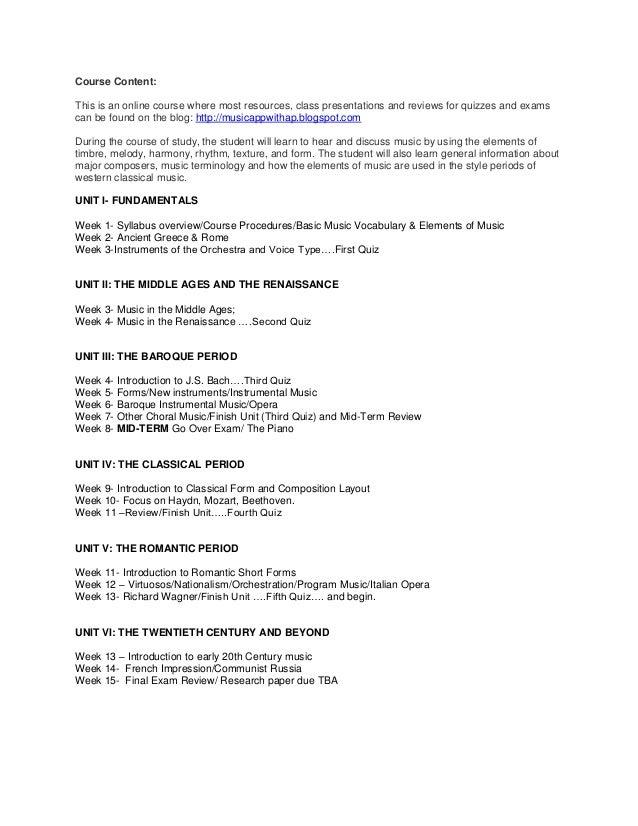 Music Appreciation Essay Examples  Mistyhamel Music Appreciation Essay Fiu Class Syllabus Hghs