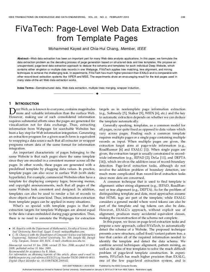 IEEE TRANSACTIONS ON KNOWLEDGE AND DATA ENGINEERING,                               VOL. 22,     NO. 2,    FEBRUARY 2010   ...