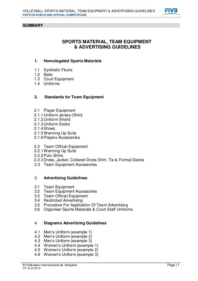 Volleyball sports material team equipment and advertising guidelines
