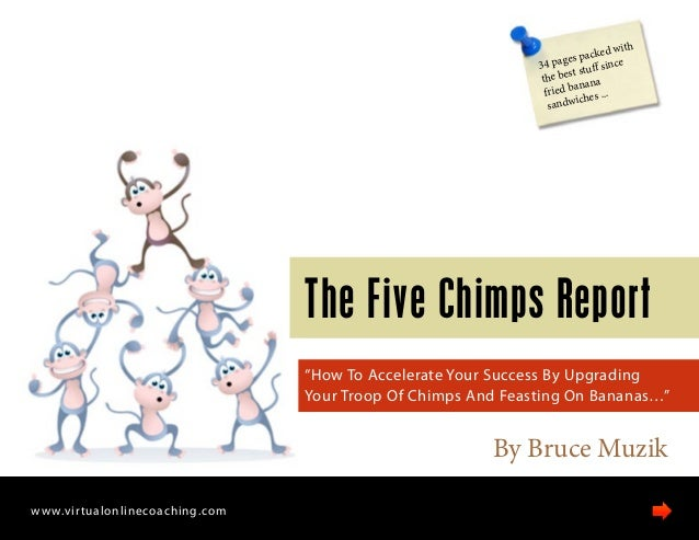 "By Bruce Muzik The Five Chimps Report ""How To Accelerate Your Success By Upgrading Your Troop Of Chimps And Feasting On Ba..."