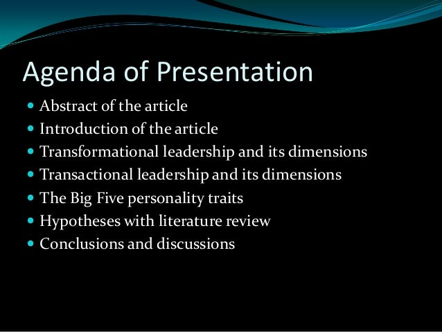literature review on transformational leadership Literature reviews keywords leadership transformational leadership   performance, we provide examples on transformational leadership practices'  impact.