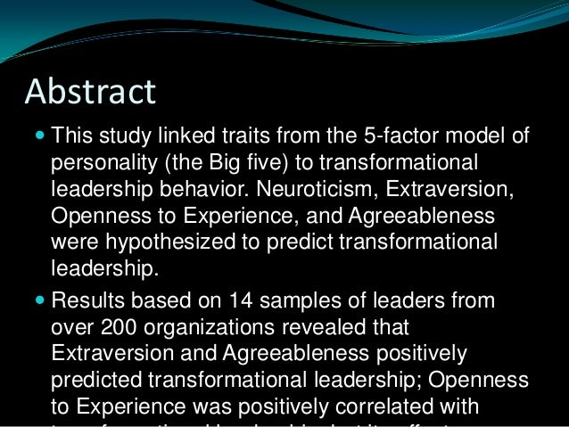 Five factor model of personality and transformational leadership