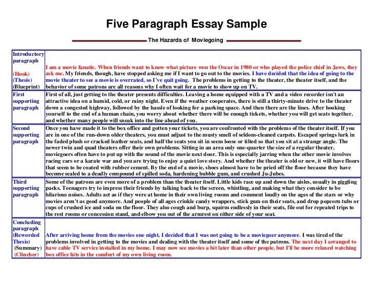 5 paragraph essay sample pdf