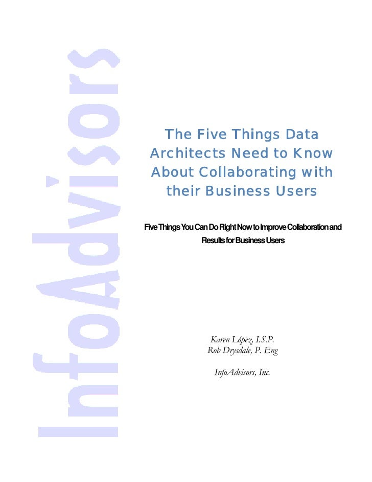 The Five Things Data Architects Need To Know About