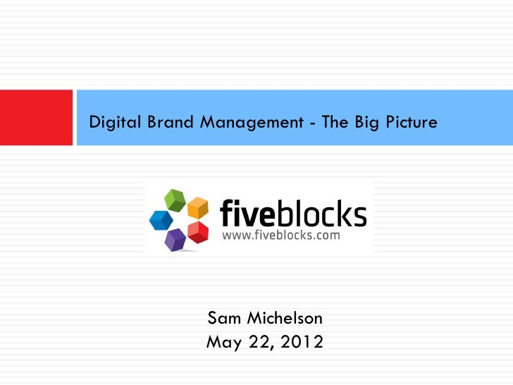 Digital Brand Management - The Big Picture              Sam Michelson              May 22, 2012