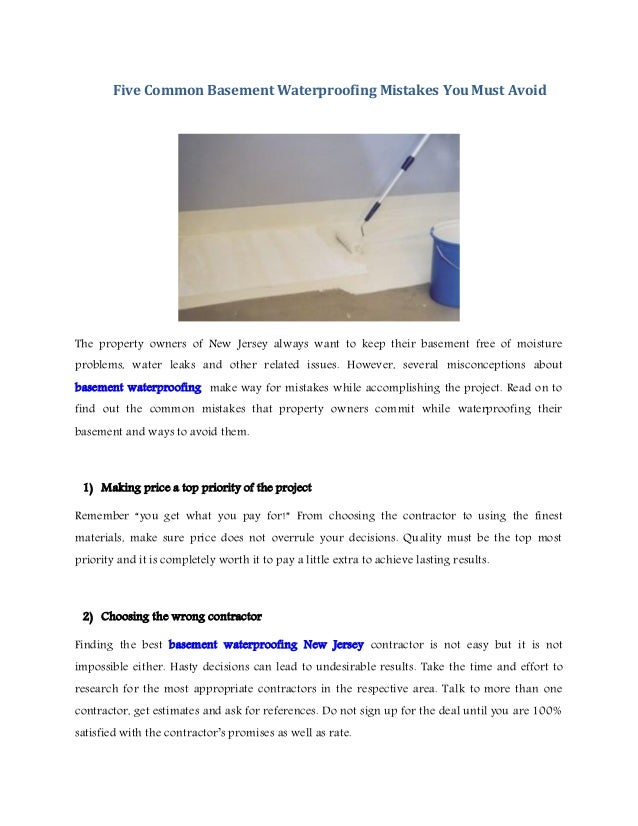 Five Common Basement Waterproofing Mistakes You Must Avoid The Property  Owners Of New Jersey Always Want ...
