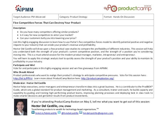 Target Audience: PM Advanced Category: Product Strategy Format: Hands-On Discussion Five Competitive Forces That Can Destr...